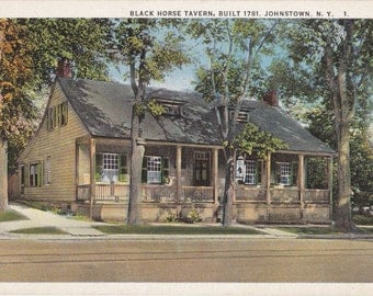 Black Horse Tavern- 1920s Antique Postcard- Built 1781- Johnstown, NY- New York- Landmark Souvenir- Star Quality- Paper Ephemera