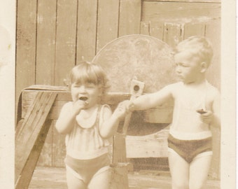 Papa Was An Axeman- 1920s Antique Photograph- Grindstone- Brothers in Swimsuits- Holding Hands- Sepia Snapshot- Found Photo- Paper Ephemera