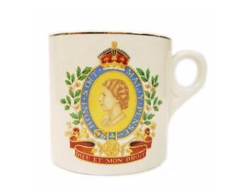 1953 Queen Elizabeth II Coronation Mug Commemorative Souvenir Keele Street Pottery, England