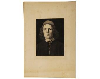 Antique Etching Portrait of a Young Man c.1800s by Leopold Flameng after Massacio.  Tomasso de Giovanni di Simone Guidi