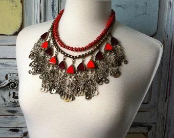 Handmade OOAK Tribal Inspired Necklace Statement Fringe Bib Orange Red Priestess Hippie Boho Gypsy