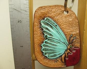 Handmade custom keychain , custom tooled butterfly , butterfly key fob , turquoise butterfly , butterfly key ring
