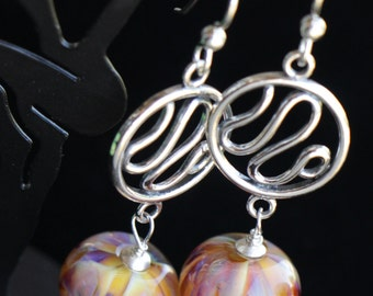 Amber Pink Purple Silver Accent Glass Lampworking Sterling Silver Earrings