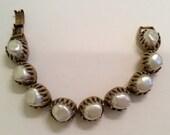 """Vintage Baroque Pearl Articulated Bracelet 6 1/2"""" Florenza"""