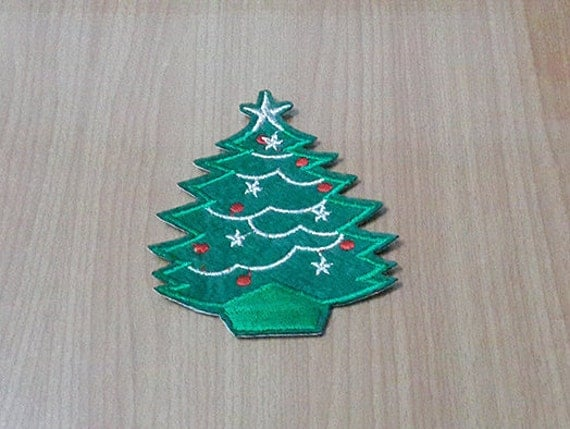 Christmas Tree Iron On Patch Embroidered Size 2 3/4 X 3