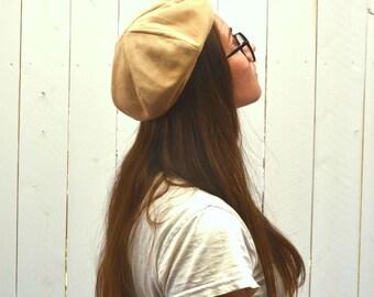 Suede Beret Hat 60s Vintage Tan Tam Cap Mod Beatnik Artist Style Union Made Small