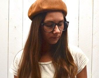 Suede Beatnik Beret 60s Vintage Soft Round Mod Hippie Hat