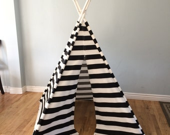 Black, White, Stipes, Striped, Play Teepee, Tee Pee, Tent (poles included) Ready to Ship