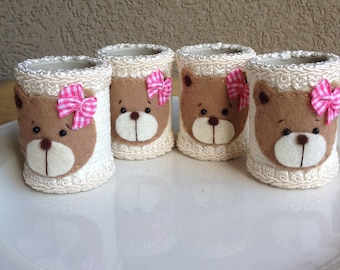 Teddy Bear Napkin Rings Handcrafted Pink Baby Girl Hand Crafted by Haute Interiors LLC  ~ #55