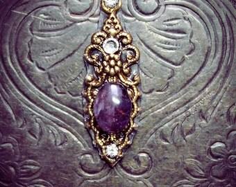 Amethyst Bindi, gemstone, genuine amethyst, gold, fairy jewelry, fantasy, tribal fusion, bellydance, wicca, pagan, purple, boho chic, fae