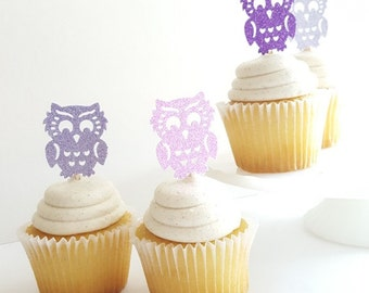 Glitter Owl Cupcake Toppers {Dozen} Large Glitter, Owl Party Decoration, Birthday Party Decor, Baby Shower Theme 28 COLORS