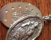 Saint Christopher Protect Us Vintage & Miraculous Medal Religious Sterling Slider Pendant on 24 inch stainless steel chain