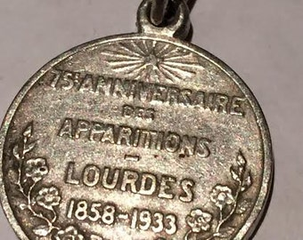 "Lourdes 75th Anniversary Vintage Religious Medal Pendant on 18"" sterling silver rolo chain"