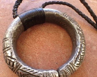 Old Tuareg Aluminium Necklace Circle with Adjustable Cord