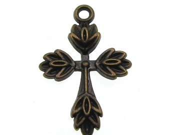 Bronze Charms : 10 Antique Bronze Cross Charms / Brass Religious Cross Pendants -- Lead, Nickel & Cadmium Free H4K