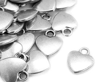 Charms : 10 Antique Silver Heart Charms | Silver Ox Heart Pendants | Valentine's Day Pendant -- Lead, Nickel & Cadmium Free 1170.S