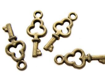 Bronze Charms : 10 Antique Bronze Flower Skeleton Key Charms | Brass Ox Skeleton Key Pendants 16x6mm 27779.K4B