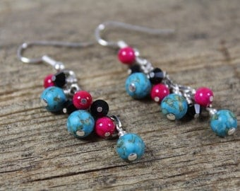 Turquoise, Pink, and Black Dangle Earrings / Turquoise Earrings / Dangle Earrings / Gifts for Her / Gifts for Women / Gifts Under 20