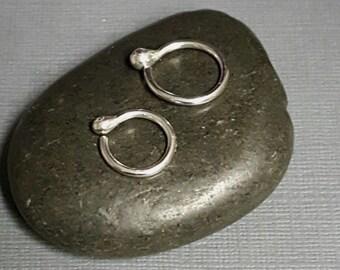 16g Silver Hoops - Sleeper hoops - second piercing hoop - gauged hoops - multiple piercing - mens hoops - minimalist hoops - everyday hoops