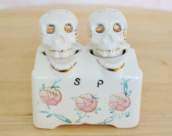 Vintage Skull Nodder Salt and Pepper Shakers with Painted Flowers