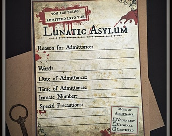 Asylum Invitations - Set of 8 with Envelopes