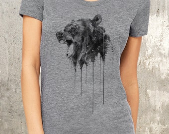 Women's TriBlend T-Shirt - Angry Bear and Forest - American Apparel - Available in S, M, L and XL