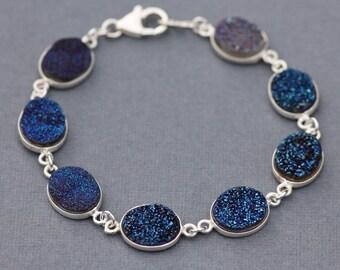 Sapphire Navy Blue GENUINE Druzy Gemstone Bracelet,Sterling Silver Bezel Druzy Quartz,Navy Midnight Blue,Drusy,Gemstone Tennis Bracelet