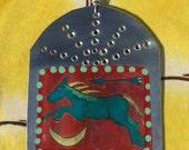 Santa Fe Horse  - Retablo - Southwestern Christmas Ornament - Tin Ex Voto / MilagrO - Cathy DeLeRee