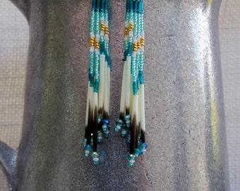 Cascading Quill Earrings - Beaded Capri Blue, Aqua Green, Gold Tassel Style - Long Seed Bead Porcupine Quill Earrings - OOAK Fringe