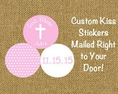 108 PRINTED Candy Kiss Stickers for Baptism Christening or First Communion Pink Polka Dots Stickers with Cross  ***DISCOUNTS AVAILABLE***