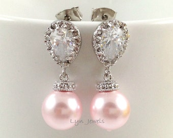 Light Pink Earrings // Rosaline Swarovski Pearl Earrings // Blush Pink Wedding Bridesmaids Earrings // Light Rose Pink Earrings