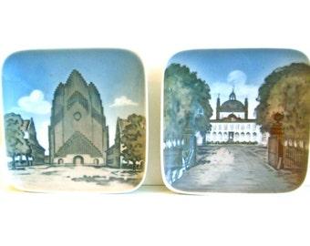 Vintage Royal Copenhagen porcelain souvenir dishes, hand painted square dishes