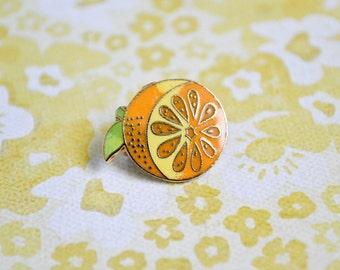 Vintage Orange Pin - Enamel Pin - Vintage Lapel Pin - Cloisonné Pin - Pin Game - Fruit Pin - Tie Pin - Pin Badge