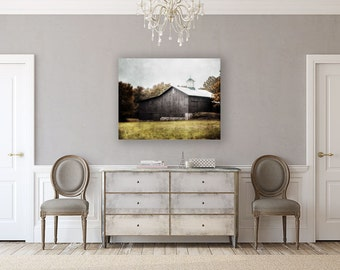 Canvas Wall Art: Gallery Wrapped Canvas, Rustic Barn Picture, Farmhouse Decor, Country Chic, Barn Landscape Photography, Grey, Green, White.