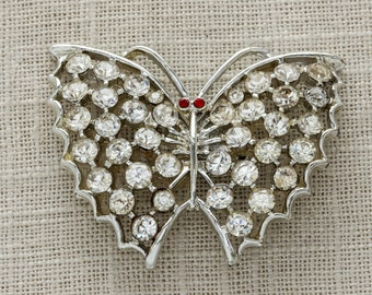 Crystal Butterfly Vintage Pin Rhinestone Brooch Red Eyes Silver Tone Metal   1950s Costume Jewelry   Novelty Brooches in the USA Vtg Pin 15G