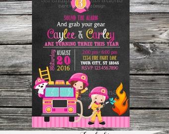 Firetruck Invitation, Twin Birthday Invitation,  Printed Invitation, Girl Firefighter Invite, Girl Birthday Party, Chalkboard Invite