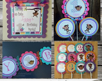 Monkey Girl Party Package -Monkey Party Package -Monkey Birthday -First Birthday -Banner -Invitation -Centerpiece -Monkey Baby Shower