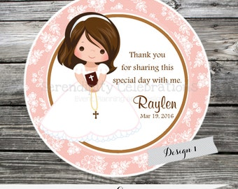 Religious gift tags etsy first communion confirmation religious set of 12 personalized favor tags stickers negle Choice Image