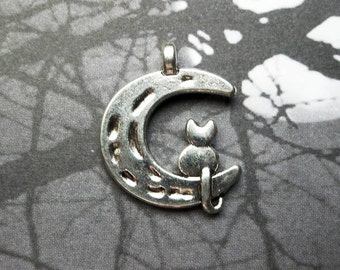 10 Cat and Moon Charms in Silver Tone - C2417