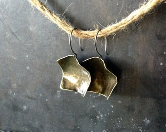 Brass Square Dangle Earrings