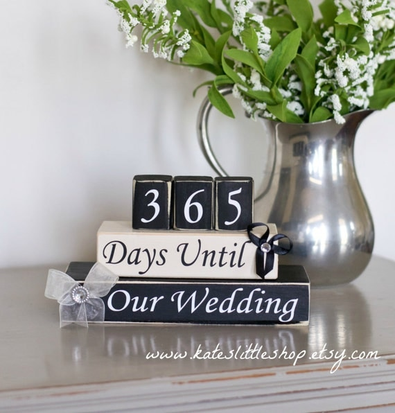 1 Year To Go Until Wedding Gift : Countdown. Custom Wedding Countdown. Days Until by KatesLittleShop