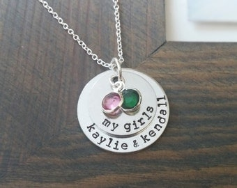 My Girls Necklace / Personalized Family Necklace with Kids Names and Birthstones / Custom Necklace for Mom of Girls / Hand Stamped Jewelry