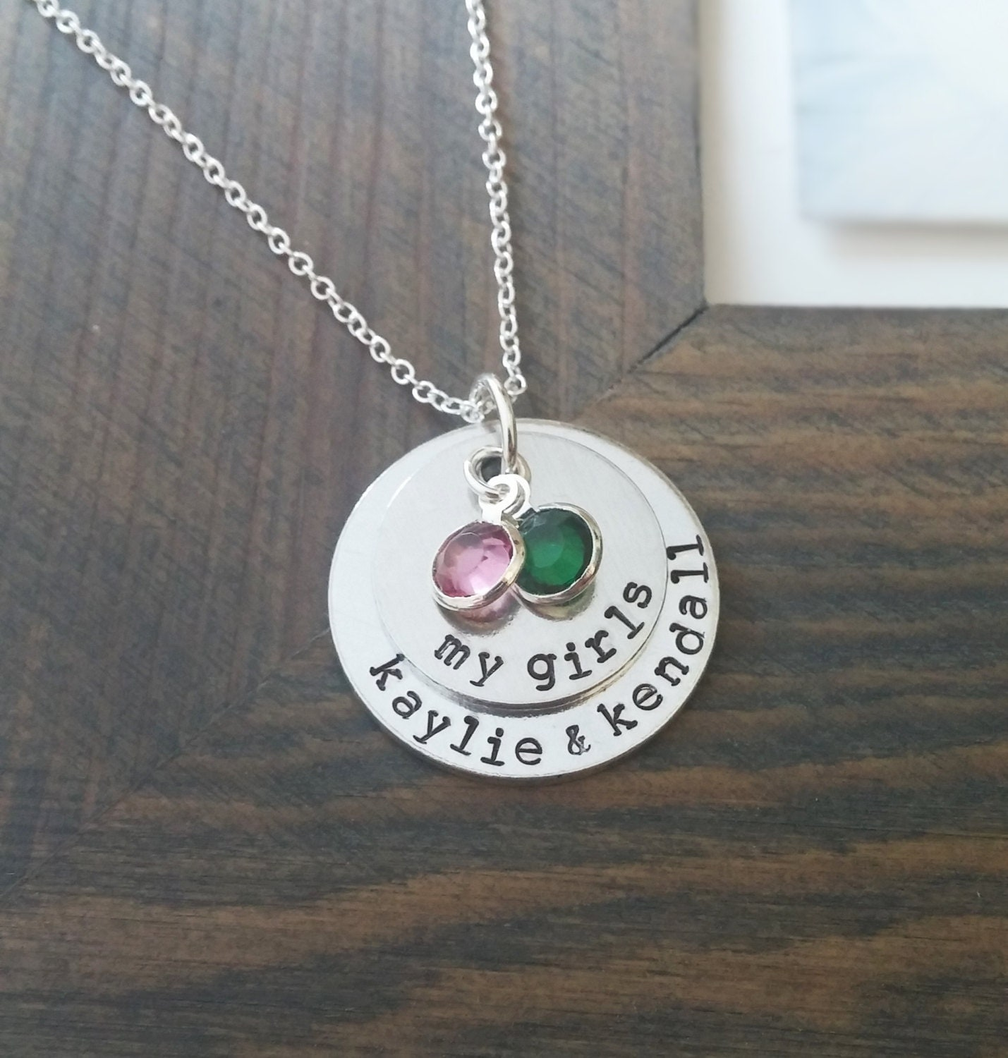 mom of girls necklace hand stamped personalized jewelry with. Black Bedroom Furniture Sets. Home Design Ideas