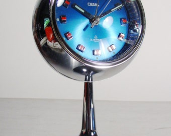 Space Age Clock, Vintage Alarm Clock, Blue and Chrome Ball Style MidCentury Coral Windup. Japan, 1970s