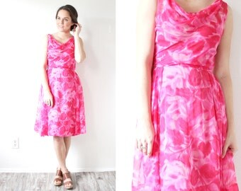 Vintage pink floral 1950's dress // summer floral gown // 1960's 1950's summer dress //formal classic party dress // summer mini dress cowl
