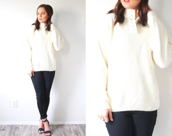Vintage BOHO cream sweater // turtle neck sweater // white winter sweater // knit sweater // white medium button neck sweater // cream knit