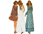 1970s High Waisted Dress Maxi Boho or above knee Bust 38 Size 16 Uncut 1970s Sewing Pattern McCalls 3246