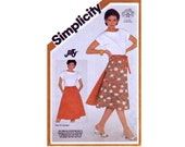 Jiffy Wrap Skirt UNCUT sewing pattern Size 16 18 20 Waist 30 32 34 1980s 80s reversible back wrap around Simplicity 5983