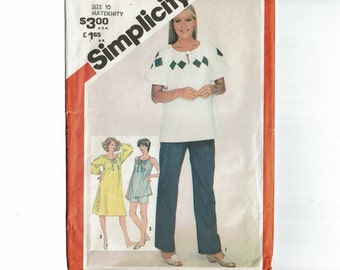 Maternity Top Pants and Shorts Size 10 1980s Sewing Pattern Simplicity 5388