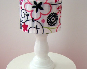 Barbie Furniture - White Table Lamp w Pink, Red and Black Print Drum Lampshade - FREE Shipping to anywhere in the USA